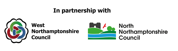 West Northamptonshire Council and North Northamptonshire Council partnership logo